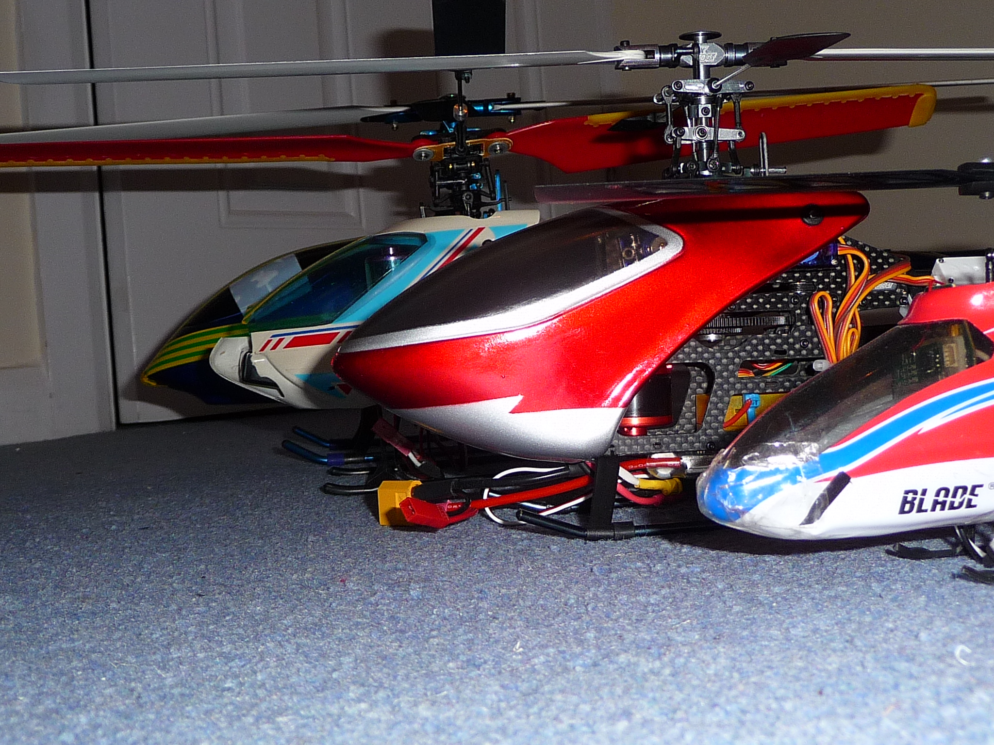 The Heli-Hack heli fleet: Align Trex 450 copy, HoneyBee Fixed Pitch V1, HK250GT, Blade mCPX